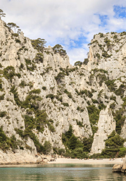 Les Calanques seen from the sea. The Calanques are sheltered inlets accessible with boats or by long walks.
