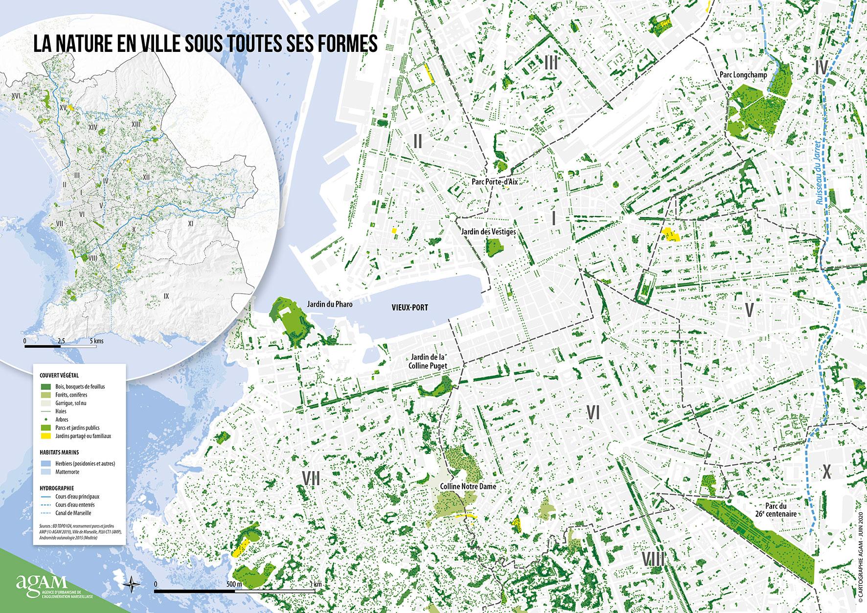 Carte sur la nature en ville Marseille